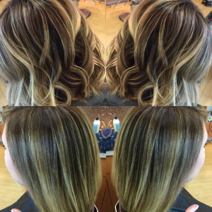 The same guest with her balayage styled curly + straight.