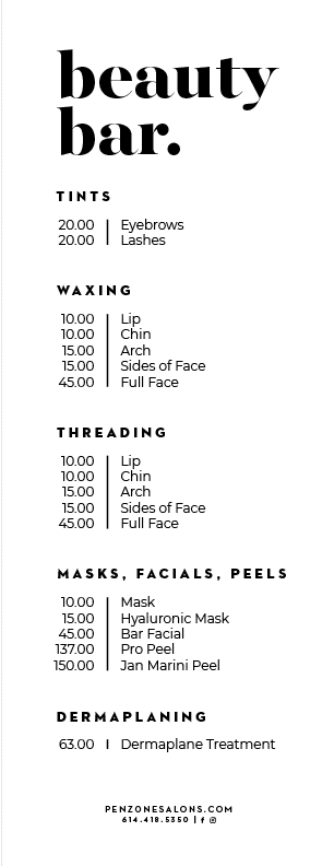 2019 Beauty Zone Menu