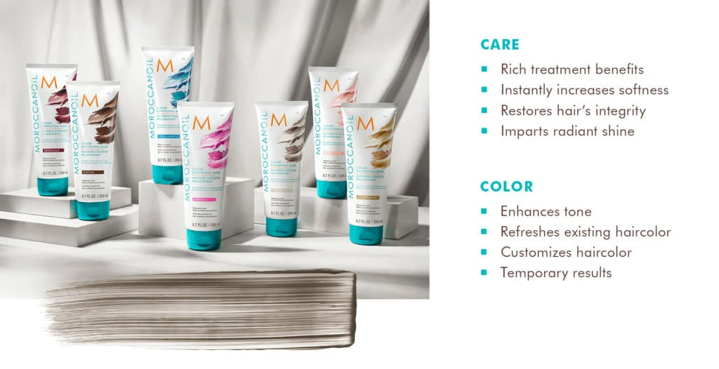 Care:  -Rich treatment benefits -Instantly Increases softness -Restores hair's integrity -Impoarts radiant shine.  Color: -Enhances tone -refreshes existing color -customizes haircolor -temporary results