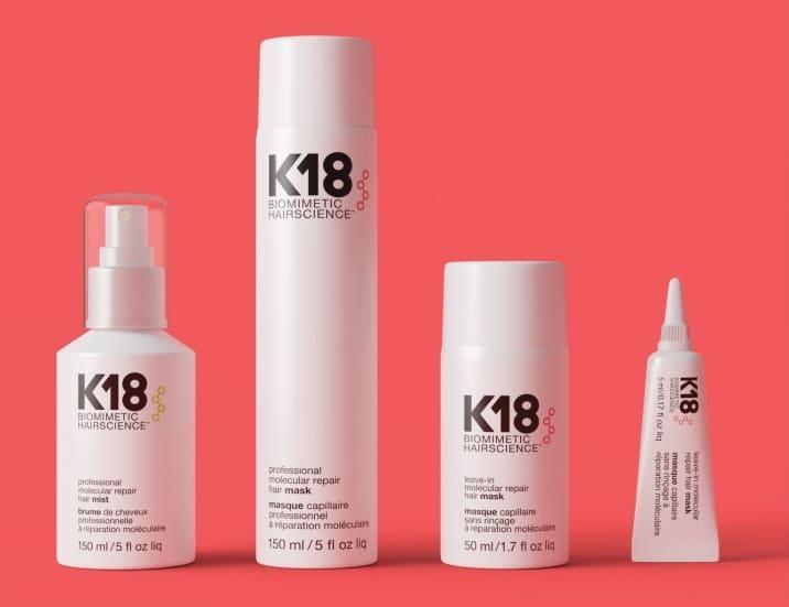 Lineup ok K18 products. Professional molecular hair mist, professional molecular repair hair mask, leave in molecular repair hair mask, leave-in molecular repair mask.