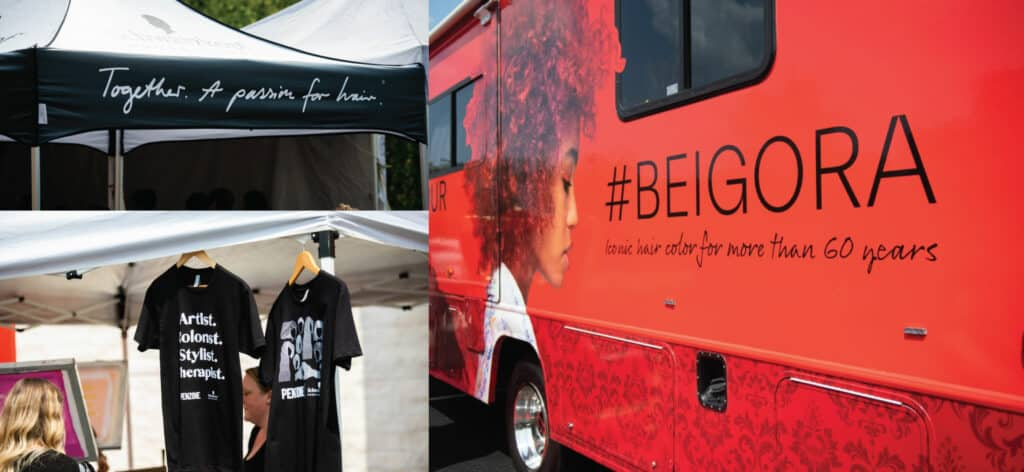 Tent at the event reading: Together. A passion for hair. Two custom teeshirts from the event and the #BEIGORA Van.