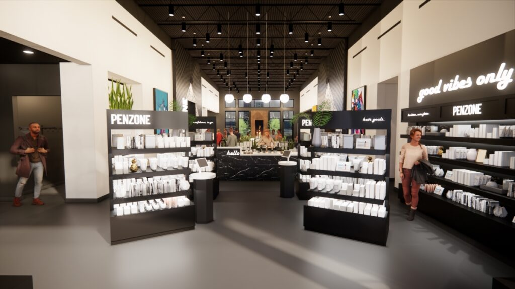 PENZONE Gahanna/New Albany welcome zone, gallery + retail area. Launching Spring 2022.