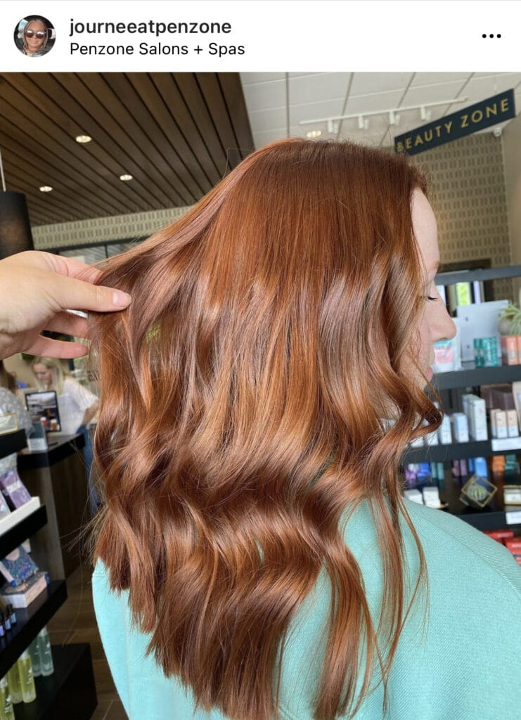 Copper hair done by Journee